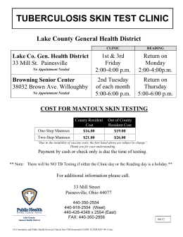 tuberculosis skin test clinic - Lake County General Health District