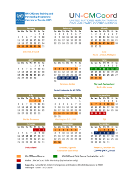 UN-CMCoord Training and Partnership Programme Calendar of