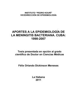 aportes a la epidemiología de la meningitis bacteriana. cuba: 1998