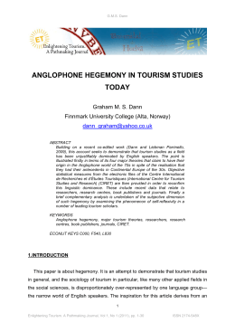 anglophone hegemony in tourism studies today