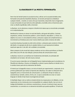 LA BAUHAUS Y LA NUEVA TIPOGRAFÍA - TALLER5