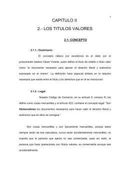 CAPITULO II 2.- LOS TITULOS VALORES