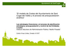 El modelo de Costes del Ayuntamiento de Sant Cugat del Vallés