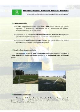 Escuela de Porteros Fundación Real Betis Balompié