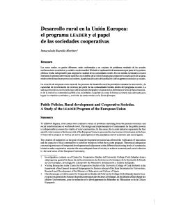el programa LEADER y el papel de las sociedades cooperativas