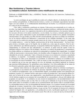 Max Horkheimer y Theodor Adorno La industria cultural. Iluminismo