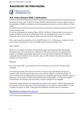 AOL Avant ofrecerá ADSL y tarifa plana