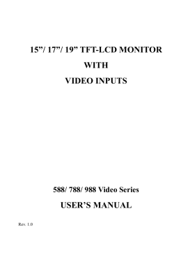 "15""/ 17""/ 19"" tft-lcd monitor with video inputs user`s manual"