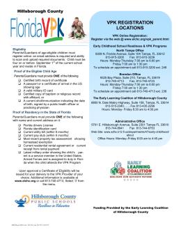 VPK REGISTRATION LOCATIONS - Florida`s Center for Child Welfare