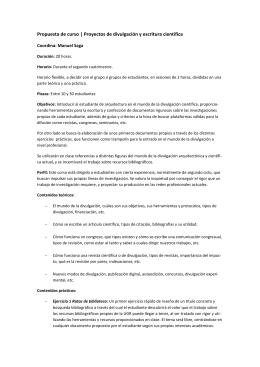 Propuesta de curso | Proyectos de divulgación y escritura científica
