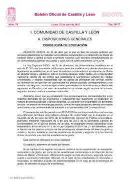Decreto de Precios Académicos de la Junta de Castilla y León