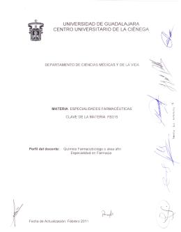 especialidades farmacéuticas - Centro Universitario de la Ciénega