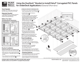 Using the DuoDeck™ Bracket to Install Palruf® Corrugated PVC