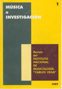 Música e Invetigación Nº 1 - Instituto Nacional de Musicología