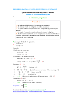 Ejercicios Resueltos del Algebra de Baldor.