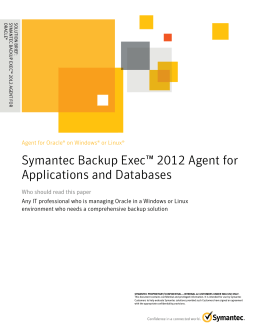Backup Exec 2012 Agent for Oracle on Windows or Linux