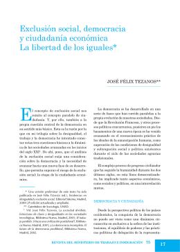 Exclusión social, democracia y ciudadanía económica La libertad