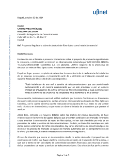 Página 1 de 3 Bogotá, octubre 30 de 2014 Doctor CARLOS