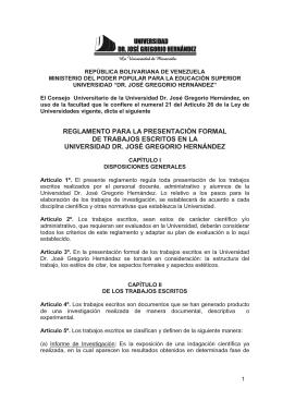 Reglamento para la Presentación Formal de Trabajos Escritos