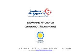 SEGURO DEL AUTOMOTOR Condiciones, Cláusulas y Anexos