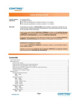Carta Técnica CONTPAQ i® NÓMINAS versión 6.2.0