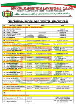 DIRECTORIO MUNICIPALIDAD DISTRITAL SAN CRISTOBAL