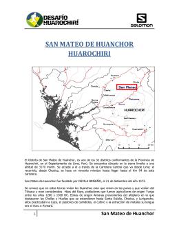 SAN MATEO DE HUANCHOR HUAROCHIRI