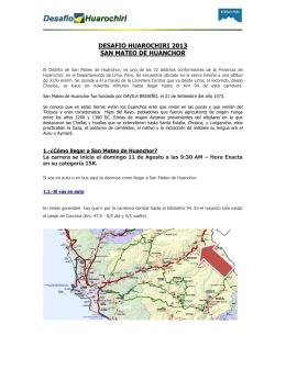 DESAFIO HUAROCHIRI 2013 SAN MATEO DE HUANCHOR