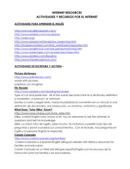 INTERNET RESOURCES ACTIVIDADES Y RECURSOS POR EL