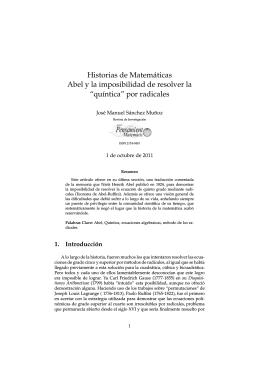 Historias de Matemáticas Abel y la imposibilidad de resolver la