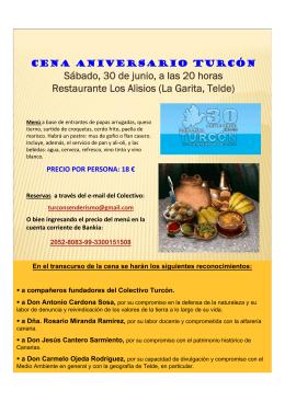 Sábado, 30 de junio, a las 20 horas Restaurante Los Alisios