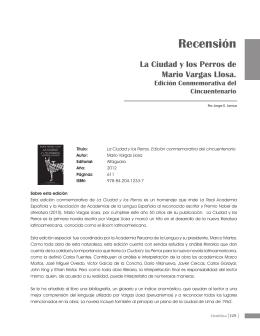 Recension. La Ciudad y los Perros de Mario Vargas Llosa