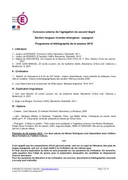 Programme de l`agrégation externe d`espagnol de la session 2015