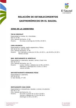 relación de establecimientos gastronómicos en el sauzal