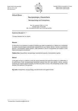 Artículo Breve: Neuropsicología y Esquizofrenia