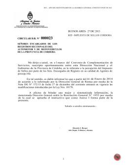 1 CIRCULAR D.R. Nº 000023 BUENOS AIRES