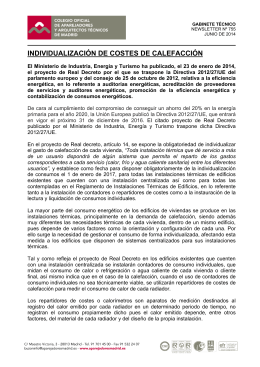 INDIVIDUALIZACIÓN DE COSTES DE CALEFACCIÓN