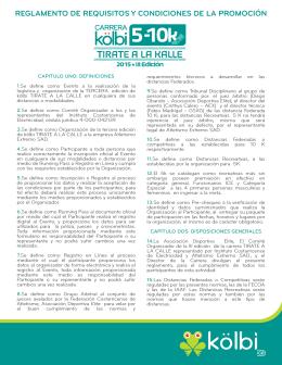 Reglamento Carrera kölbi 5-10k