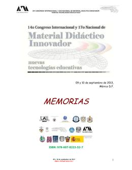 memorias 2013 - Material Didáctico Innovador