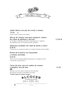 Jamón ibérico con pan de cristal y tomate. 10.50