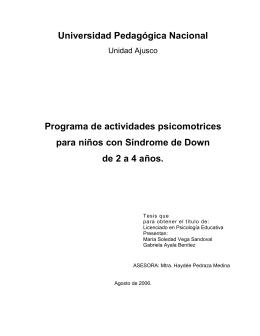 Programa de actividades psicomotrices para niños con Síndrome de