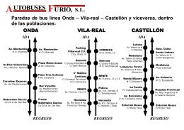 Paradas de bus línea Onda – Vila-real – Castellón y viceversa