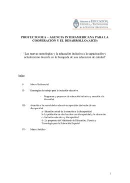 PROYECTO OEA – AGENCIA INTERAMERICANA PARA LA