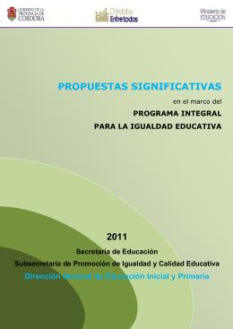 propuestas significativas - Subsecretaría de Promoción de Igualdad