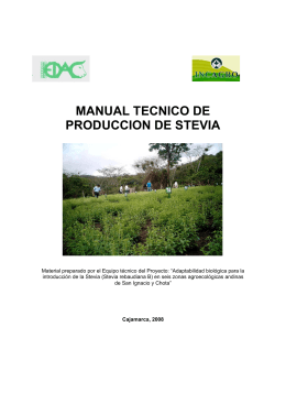 MANUAL TECNICO DE PRODUCCION DE STEVIA