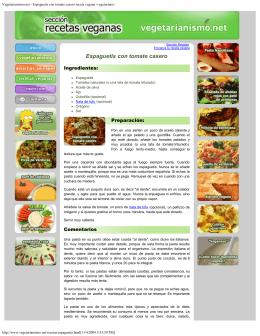 Vegetarianismo.net - Espaguetis con tomate casero receta vegana