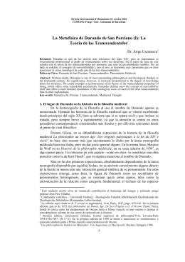 La Metafísica de Durando de San Porciano (I): La Teoría de los