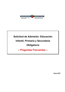 Solicitud de Admisión: Educación Infantil, Primaria y Secundaria