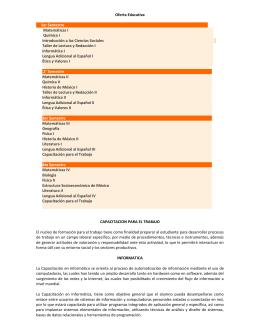 Oferta Educativa 1er Semestre Matemáticas I Química I Introducción