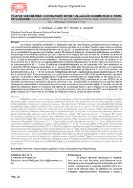 Pag. 20 Artículo Original / Original Article PÓLIPOS VESICULARES